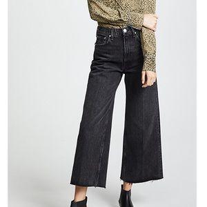Rag & Bone Black High Rise Wide Leg Jeans